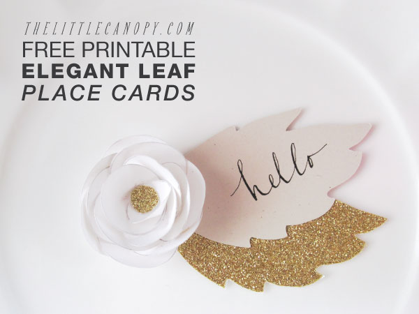 diy free printables bridal shower elegant leaf placecards - Printed Wedding Place Cards