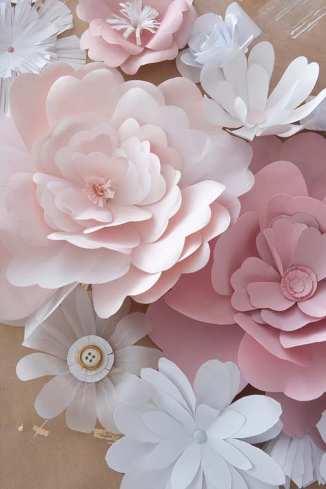 DIY How to make handmade paper flowers wedding backdrop