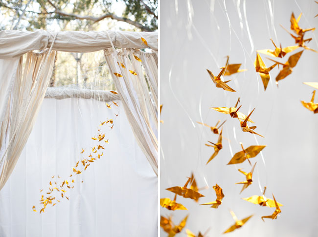 The little canopy artsy weddings indie weddings for 1000 paper cranes wedding decoration