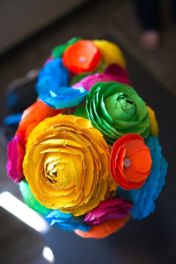 Artsy Vintage Handmade Wedding Paper Flower Bouquets