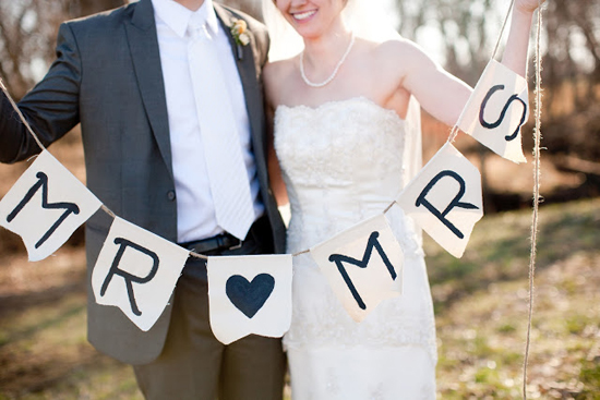 DIY Handmade Barn Wedding Mr Mrs Banner