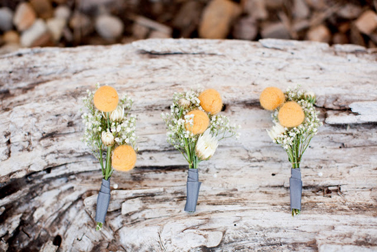 DIY Handmade Barn Wedding Billy Ball Boutonieres