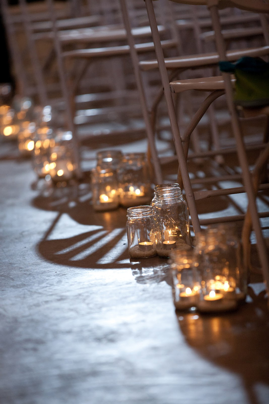 DIY Handmade Barn Wedding Aisle Candles
