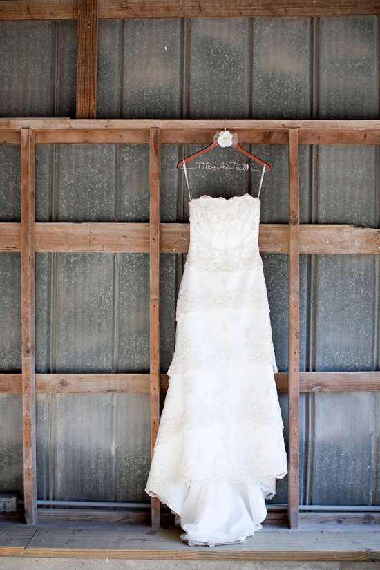 DIY Handmade Barn Wedding Dress Detail Shot