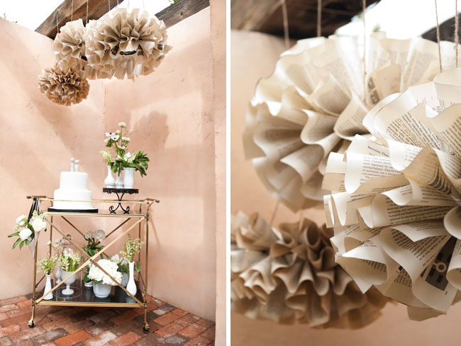 Paper wedding decor using old book pages into pompoms