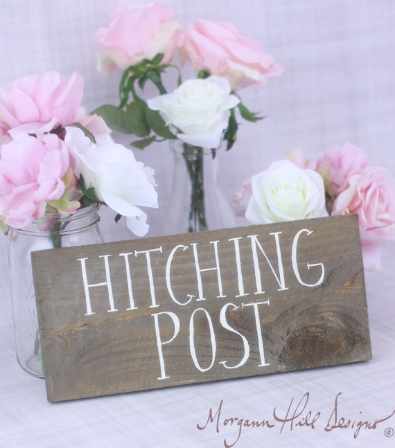 Handmade Artsy Wedding Signage Hitching Post