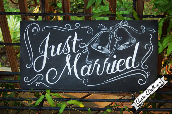 Handmade Artsy Wedding Signage Just Married