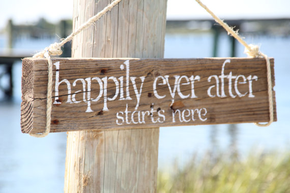 Handmade Artsy Wedding Signage Happily Ever After