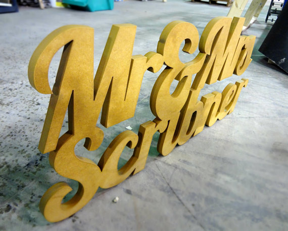 Handmade Artsy Wedding Signage mr and mrs