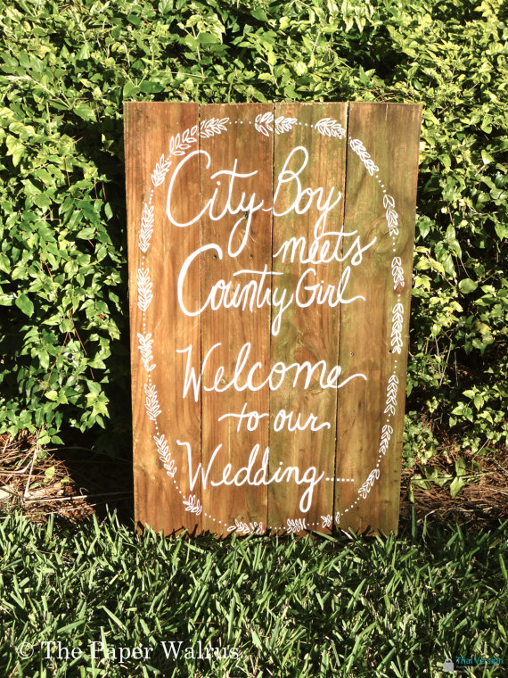 Handmade Artsy Wedding Signage city boy