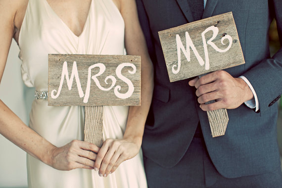 mr and mrs Handmade Artsy Wedding Signage