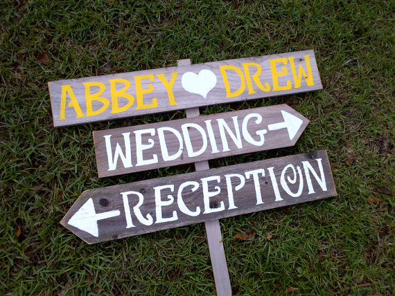 Handmade Artsy Wedding Signage direction sign