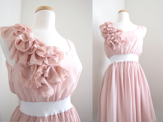 Artsy Wedding Handmade Bridesmaid Dresses Chiffon Pink