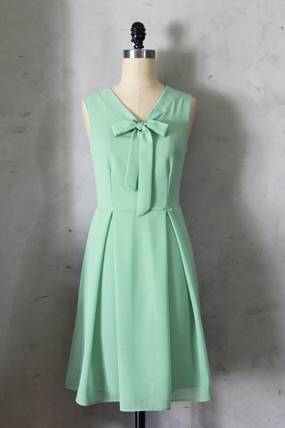 Artsy Wedding Handmade Bridesmaid Dresses Mint Green Bow