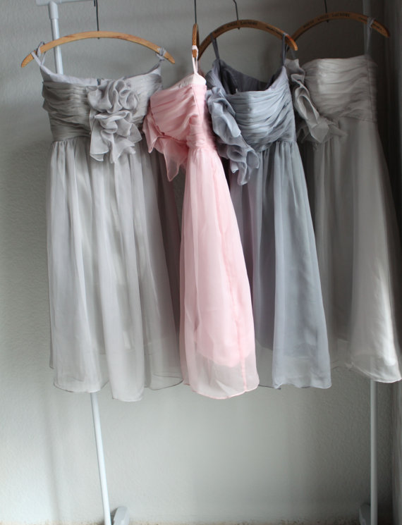 Artsy Wedding Handmade Bridesmaid Dresses chiffon gray blush