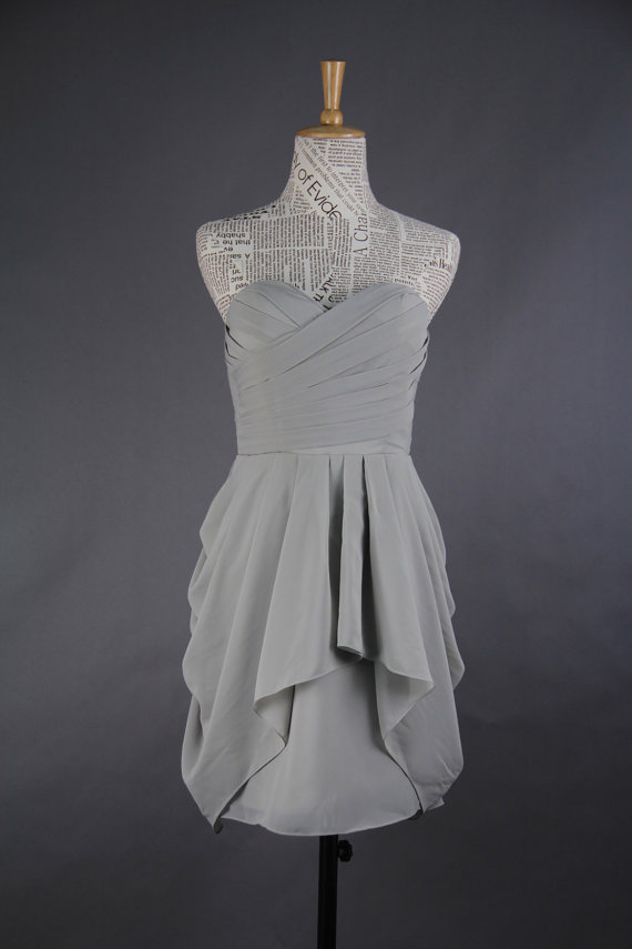 Artsy Wedding Handmade Bridesmaid Dresses chiffon gray