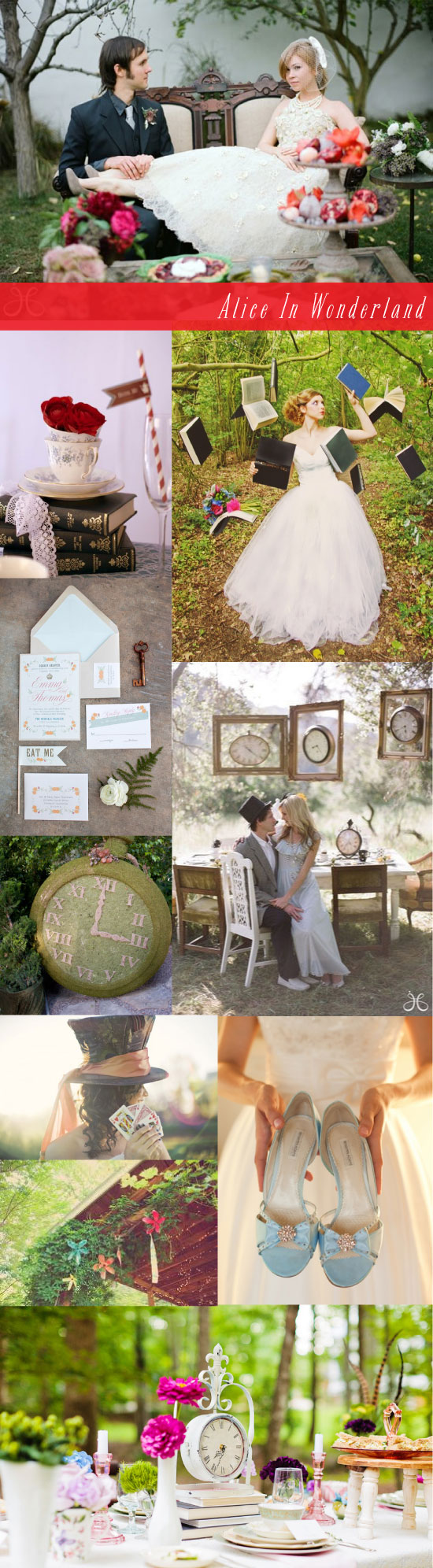 Alice in Wonderland wedding inspiration board