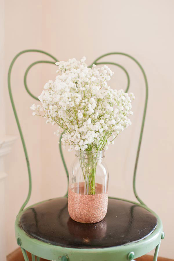 DIY Glitter Painted Flower Vase