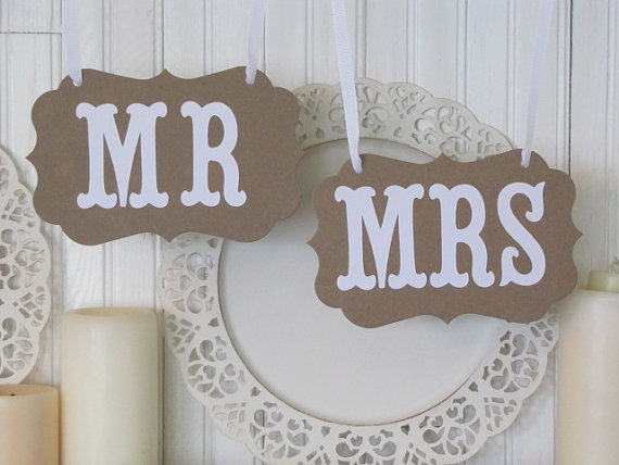 Mr Mrs Wedding Headtable Chair Signs