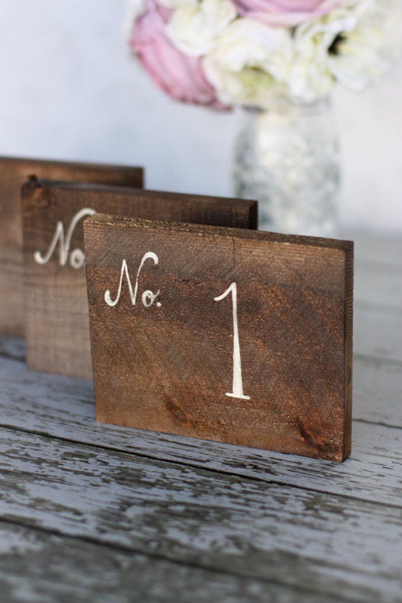 Artsy Rustic Wedding Table Numbers Wooden