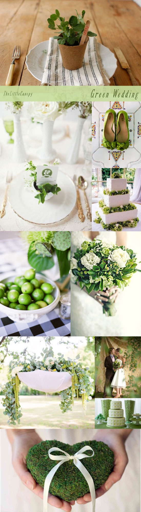 Green Natural Wedding Inspiration Board