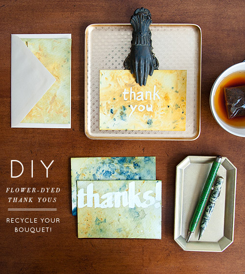 DIY flower dyed thank you card tutorial
