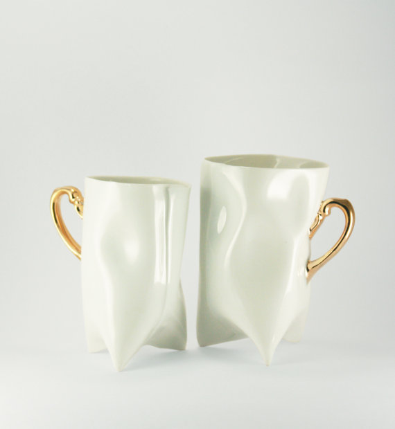 Ceramic white and gold handbuilt cups