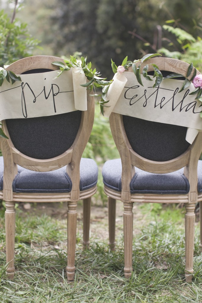 MR and mrs signage chair
