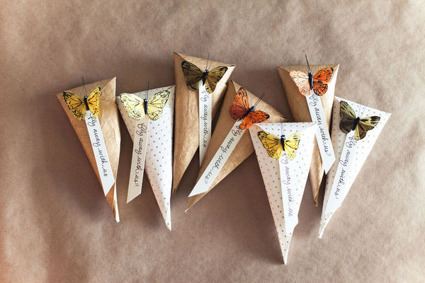 DIY project for butterfly theme rice tosser packaging handmade with paper