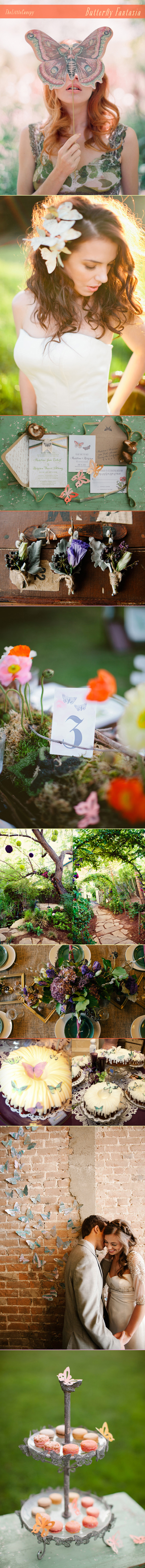 inspiration board of a butterfly fantasia theme for your wedding