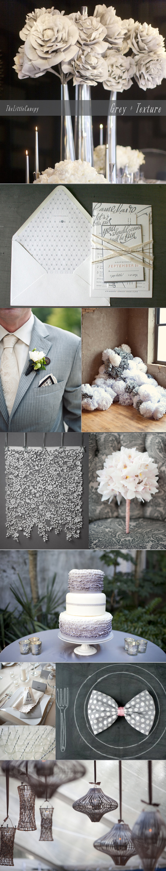 Inspiration Board for weddings in grey color and textures and patterns