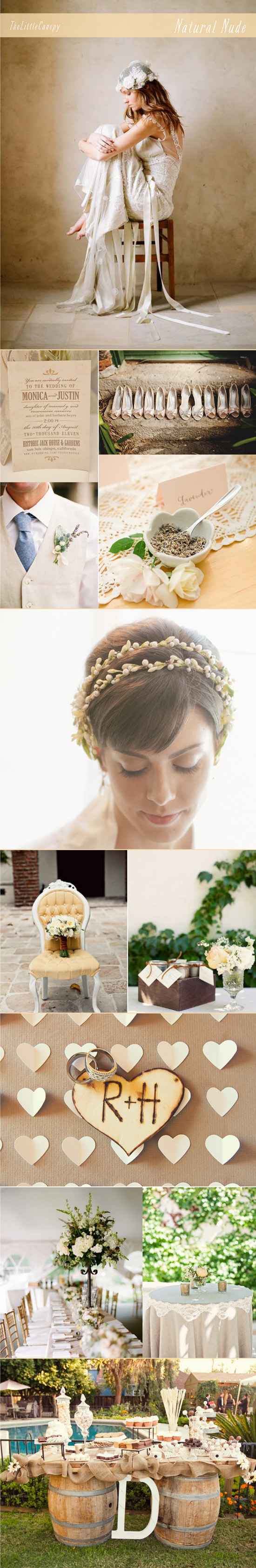 inspiration board for a natural nude color theme wedding