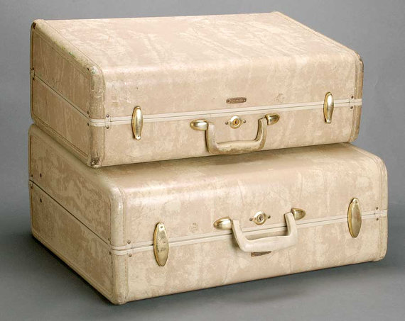 Vintage nude suitcases for wedding props