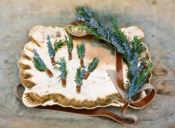 Rosemary and lavender boutonnieres on vintage tray
