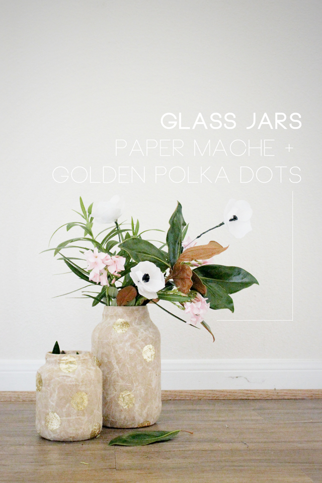 A wedding DIY tutorial for paper mache glass mason jars with golden polka dots