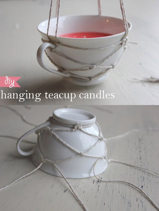 a delicate and charming diy teacup candle holder with weaving twine