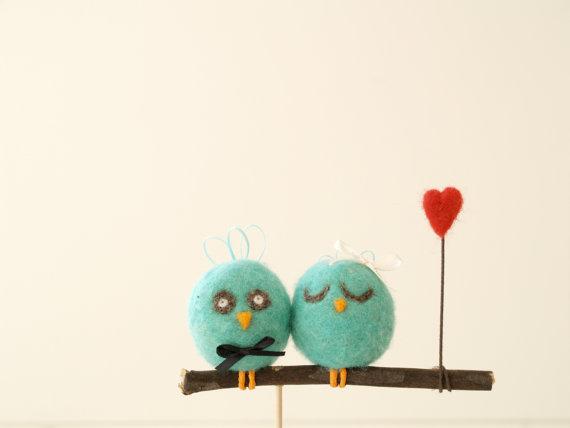 Cute little wool love birds cake toppers