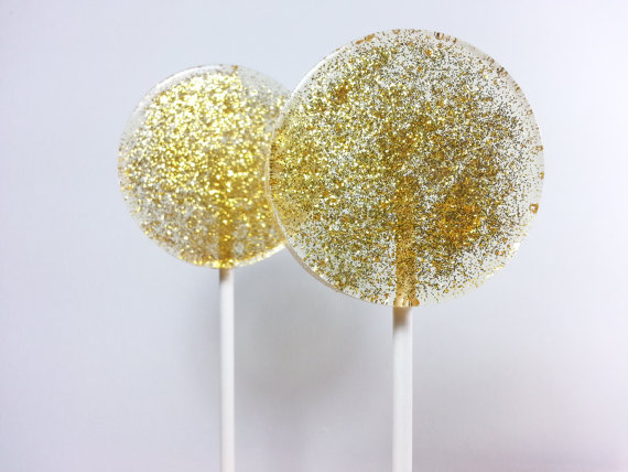handmade gold glitter confetti lollipops that would be perfect as wedding or shower favors