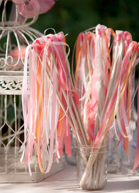 cute handmade ribbon wands perfect for cheering the couple down the aisle after the wedding ceremony