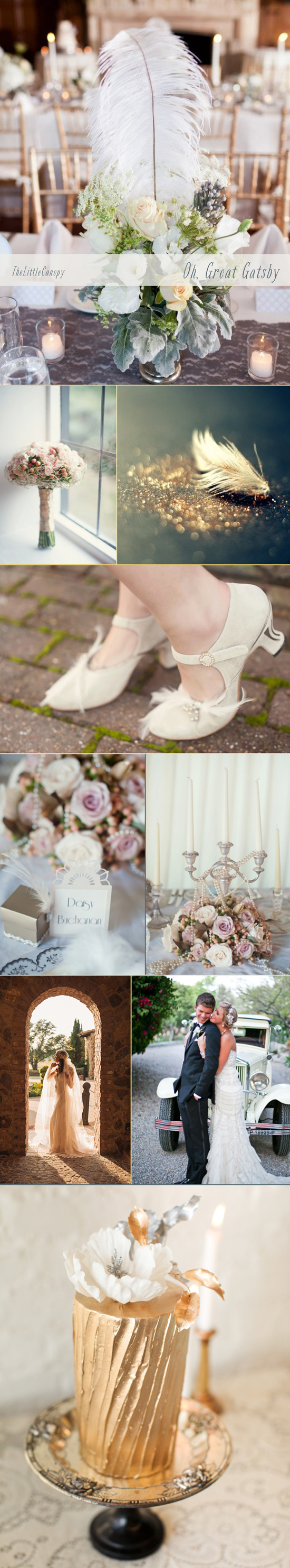 Wedding inspiration board for the great old gatsby theme in all its romantic glory