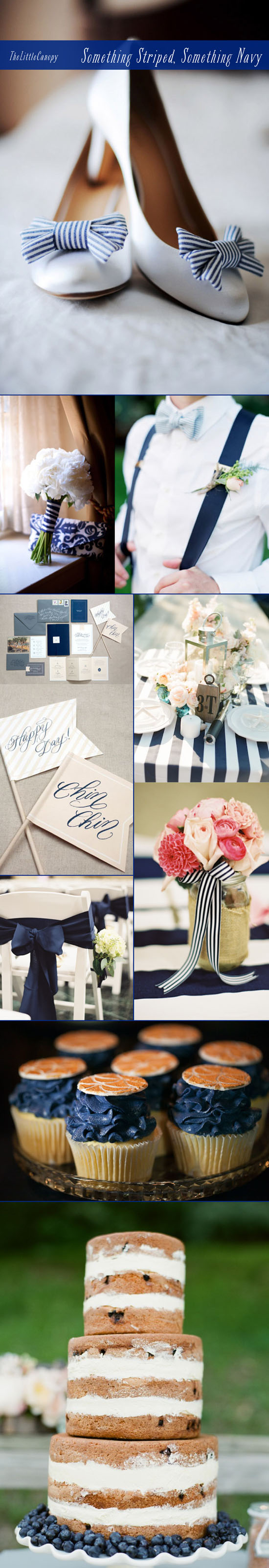 A romantic and nautical theme inspiration board using navy blue and stripes