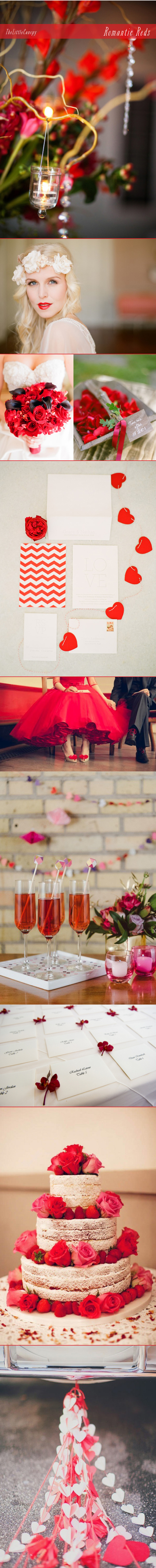 A wedding inspiration board for the color theme romantic reds