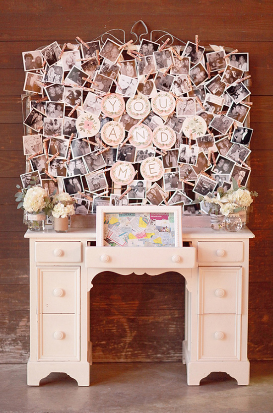 inspiration photo of a way to display your couple photos at your engagement or wedding