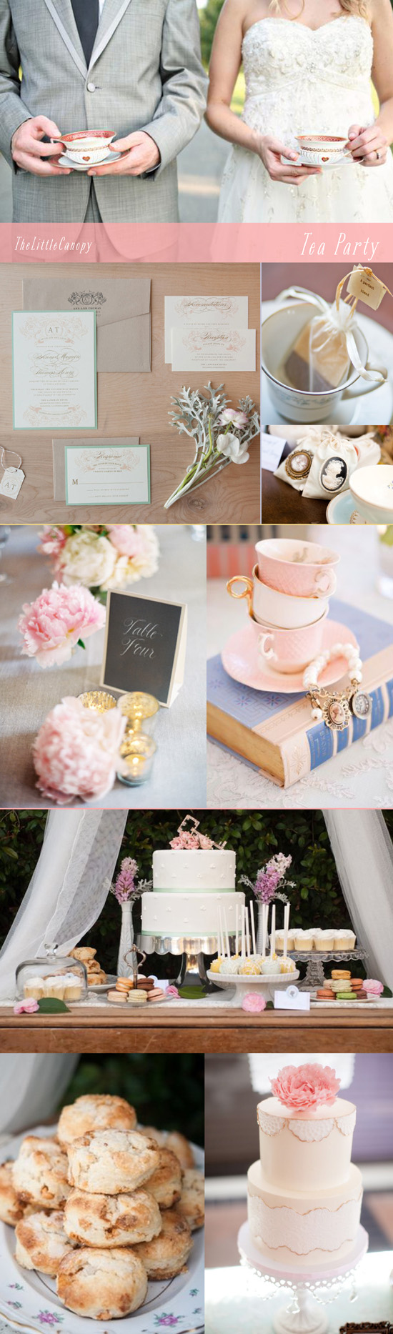 inspiration board for a tea party theme wedding or bridal shower event