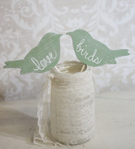 cute shabby chic wooden love birds for your cake toppers at your wedding or engagement party