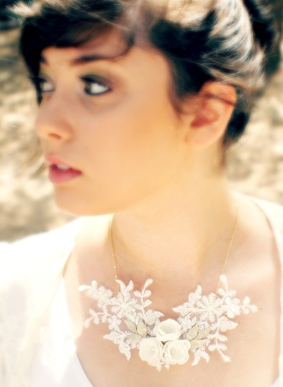 Love this intricate handmade necklace! It's almost like having a unique flower snowflake on each bride's necklace - each one being one of a kind. Aren't we all? Perfect for a winter wedding!