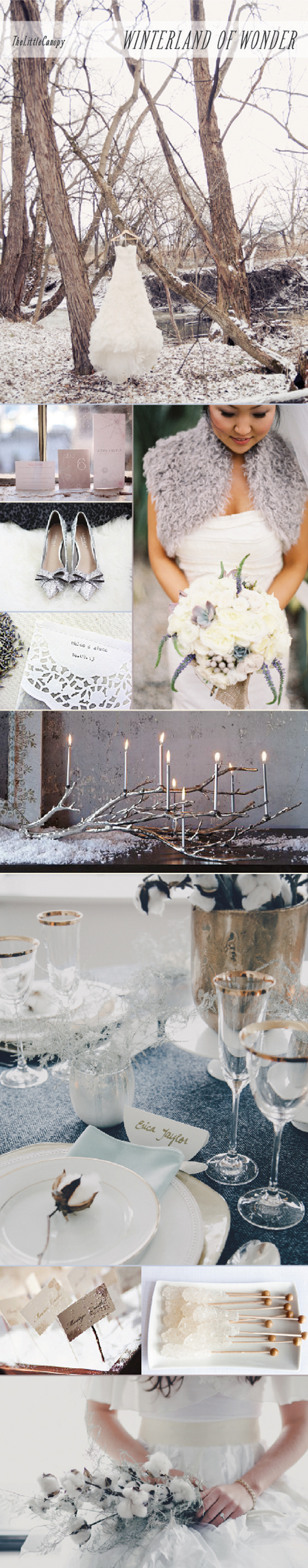 A romantic and timeless wedding theme using elements of winter with intricate textures and forms
