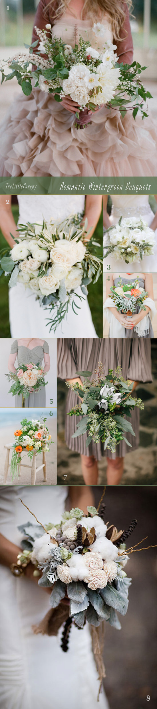 Exploring the romantic color of wintergreen, here is a mood board of different bouquet ideas that would look beautiful in a winter wedding! Love the natural faded look of wintergreen along with the long draped look of the leaves/sprigs.