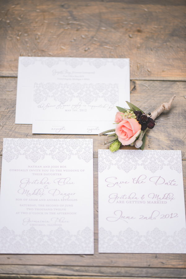 How pretty is this purple and peach wedding invitation suite? With the intricate pattern on the borders and the light shade of purple ink on white, I'm loving this romantic look!