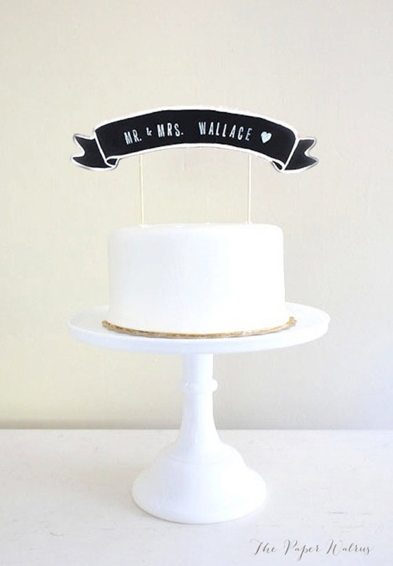 Artsy Vintage Wedding Cake Topper Chalkboard Names